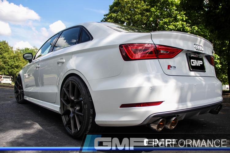 Audi S3 with Neuspeed Exhaust, H&R Lowering Springs, Stoptech Brakes, and Renn Motorsport Wheel